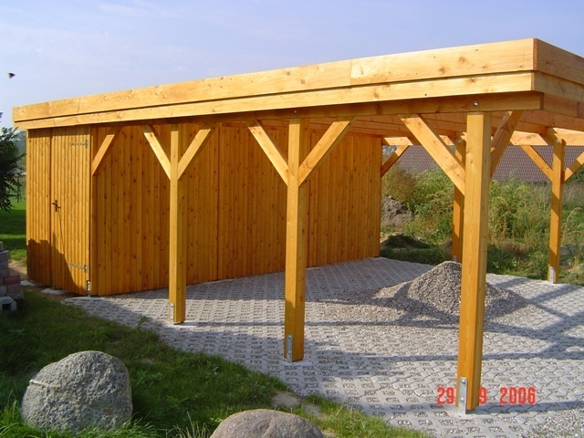 carport 5 00 x 8 70 m flachdach fichte kvh natur. Black Bedroom Furniture Sets. Home Design Ideas