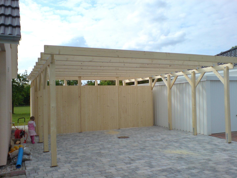carport 6 00 x 5 20 m flachdach fichte kvh natur. Black Bedroom Furniture Sets. Home Design Ideas