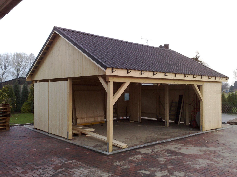 carport 5 00 x 9 00 m satteldach 25 fichte kvh natur. Black Bedroom Furniture Sets. Home Design Ideas