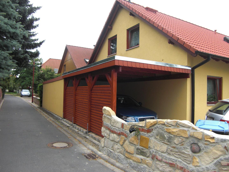 Carport 3 00 x 5 20 m leimholz si natur - Carport wandanbau ...