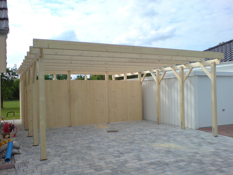 Carport 6,00 x 8,70 m Flachdach Fichte KVH mit Abstellraum