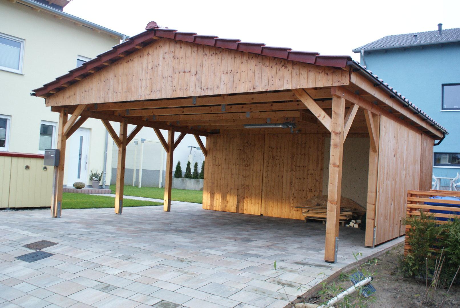 Carport 5,00 x 7,40 m Satteldach 15° Fichte KVH mit Abstellraum